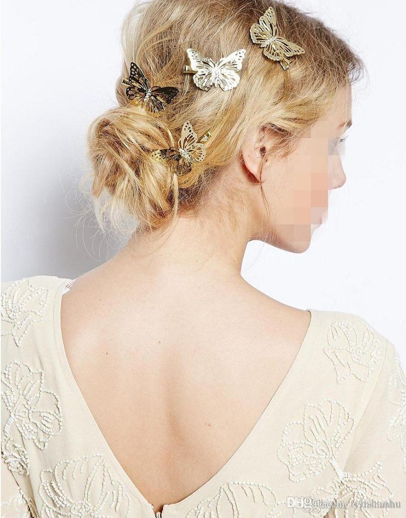 Moda Zarif Metal Hollow out Kelebek şekli Tokalar Saç Klipler Kadınlar Satement Hairwear Aksesuarları Takı H81