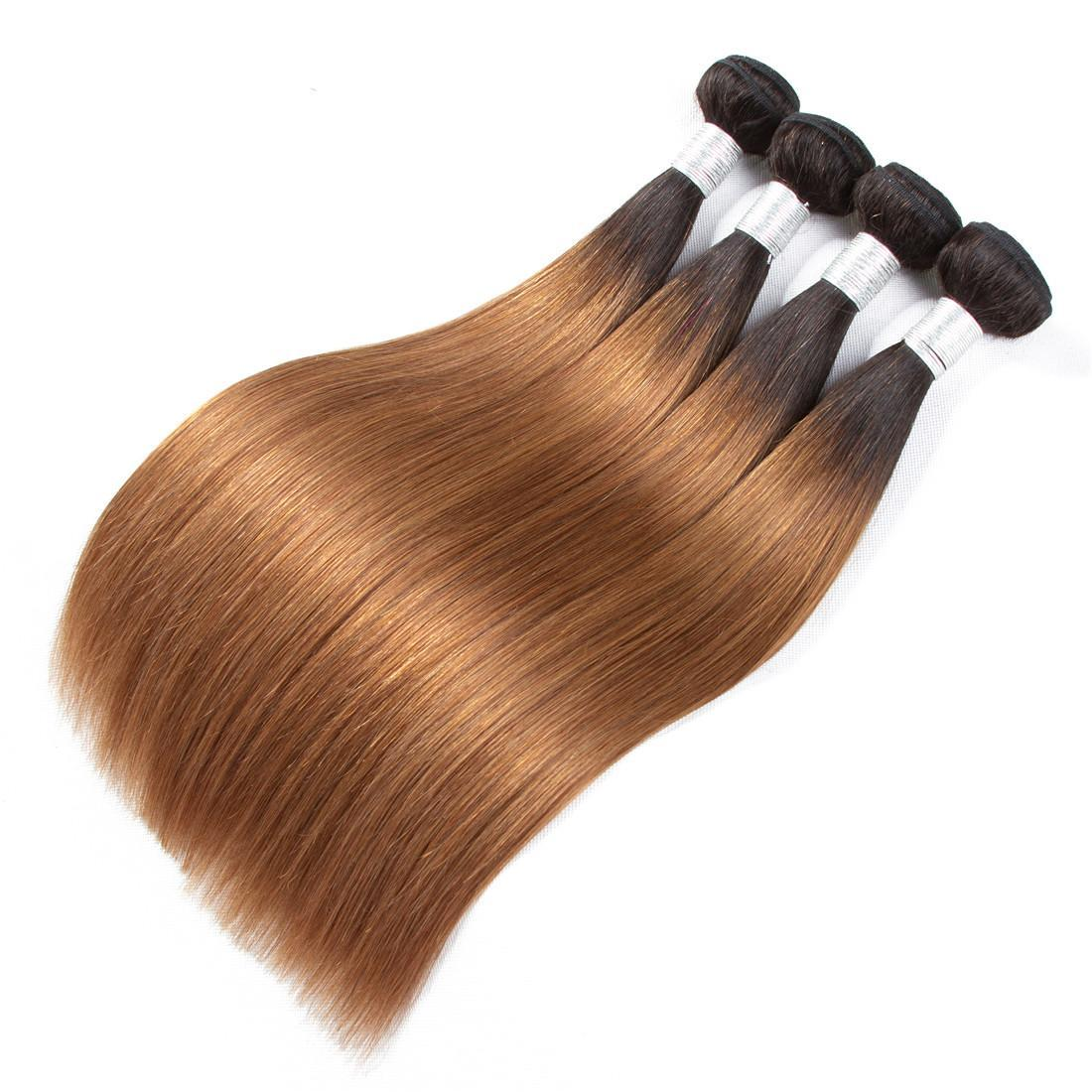 2 Tone Ombre Peruvian Straight Hair Weave Bundles 1B/30 Non Remy Human Hair Extensions 3 Or 4 Bundles Human Hair Extensions Ombre Weaves