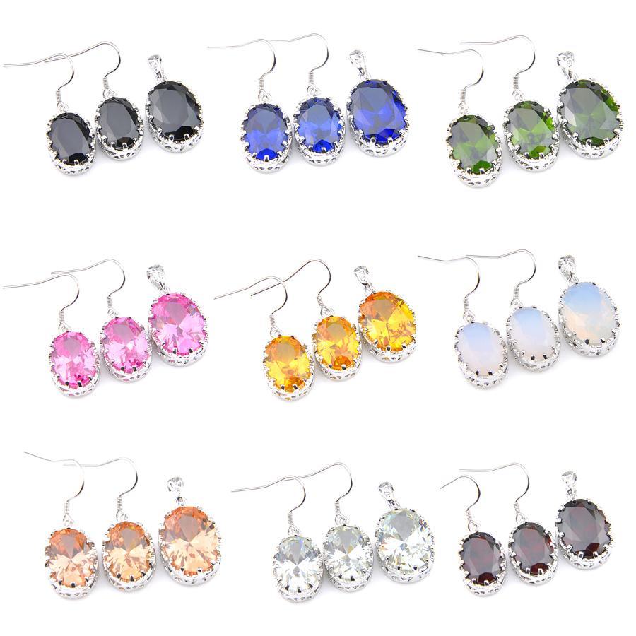 LuckyShine 5 Setleri Elips Garnet Topaz Aytaşı sitrin Mücevher Gümüş El Yapımı Parlak Kadın Düğün Kolye Earrnigs Takı Setleri