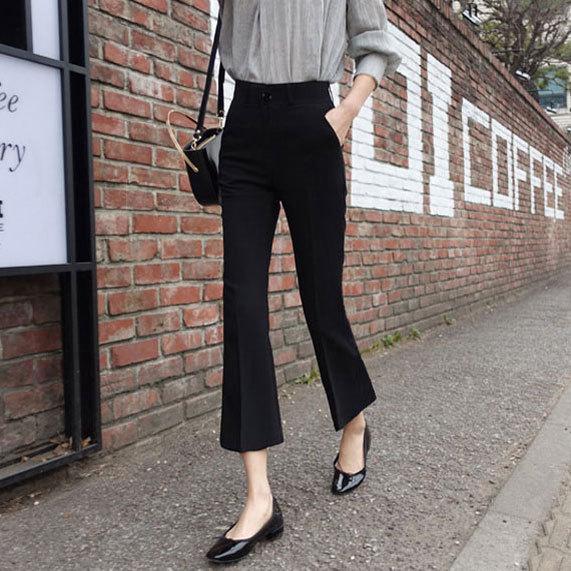 Pantalon de costume taille haute 2019 été de style coréen de femmes Pantalon amincissant polyvalent loose noir et blanc avec motif Casual Capr