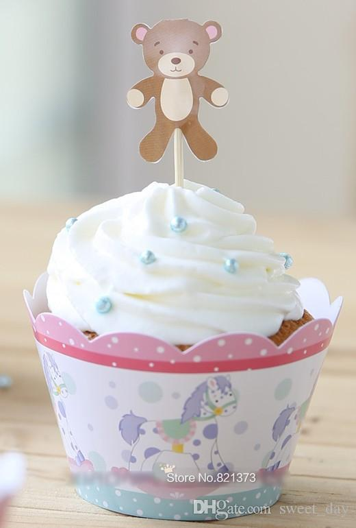 cute lovely baby shower favors kids party decorations cheap paper cupcake wrappers cups cake toppers picks for birthday supplies