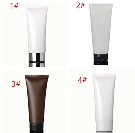 100ml white Amber soft tube / black pp cap / cream lool bottle / plastic PE hoses / cosmetic packaging empty bottles