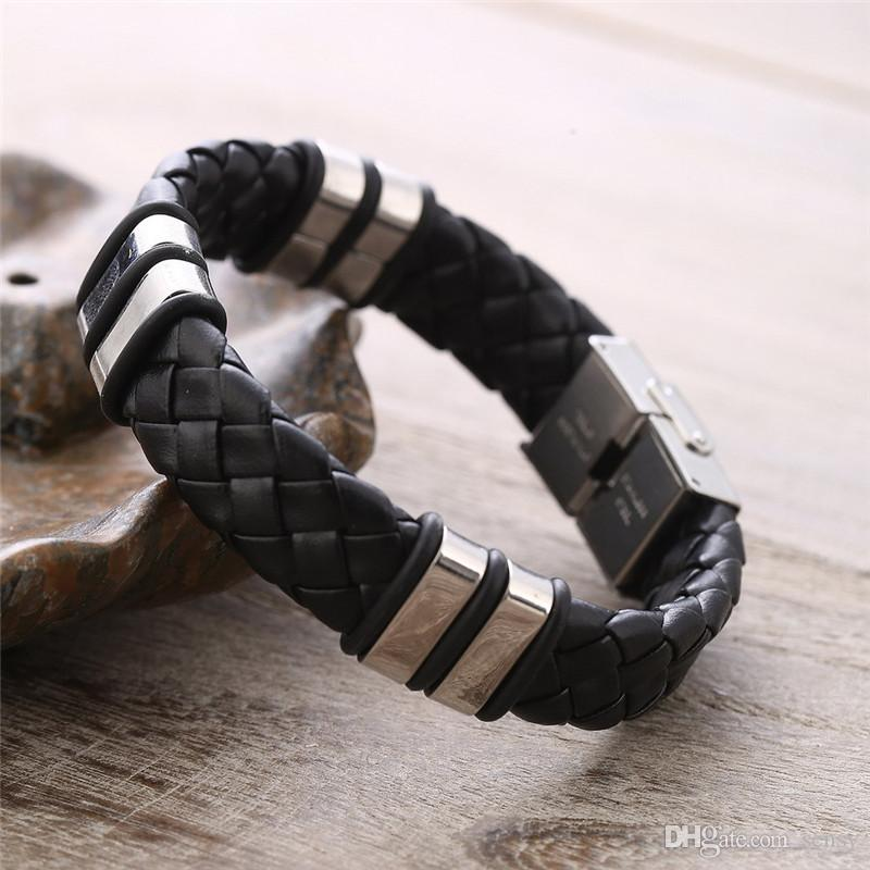 Bracelets Homme 2018 New Fashion Fine Jewelry Tide Weave Titanium Steel Bracelet Men Male Personality Gifts Pulseira Masculina