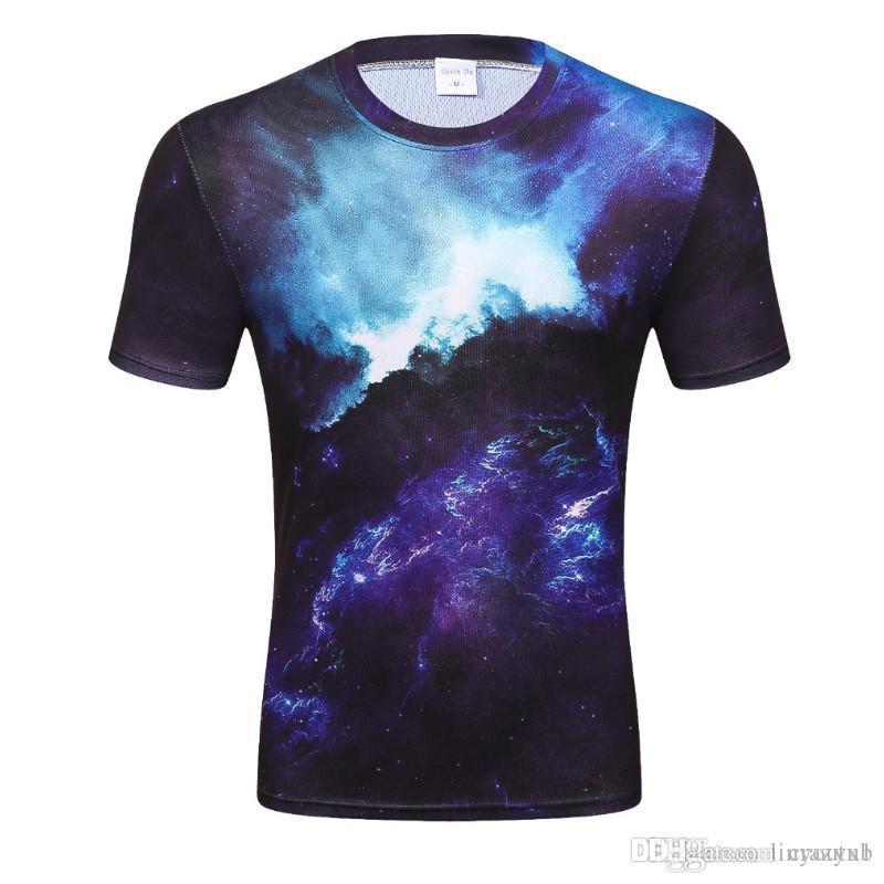 2018 Moda T Shirt Men Espaço Galaxy Impresso 3d T-shirt Street Wear manga curta Tees Plus Size Casual