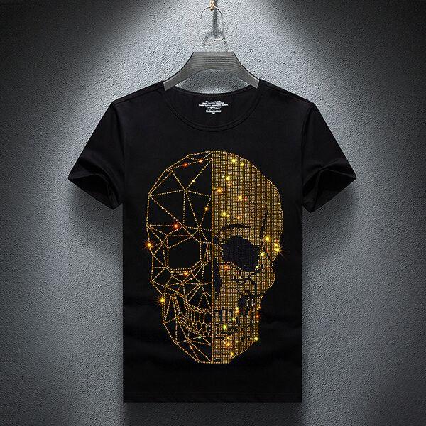 여름 최고의 남성 두개골 모조 다이아몬드 T 셔츠 모달 코튼 O 목 짧은 소매 슬림 티 셔츠