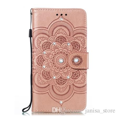 New Sun Mandala embossed point drill drop-proof can support models with credit card slot pocket for iphone XI 6.5 TPU + PU phone case