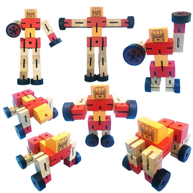 재미있는 나무 변형 로봇 자동차 어린이 크리스마스 생일 선물을위한 몬테소리 조기 교육 액션 피겨 장난감