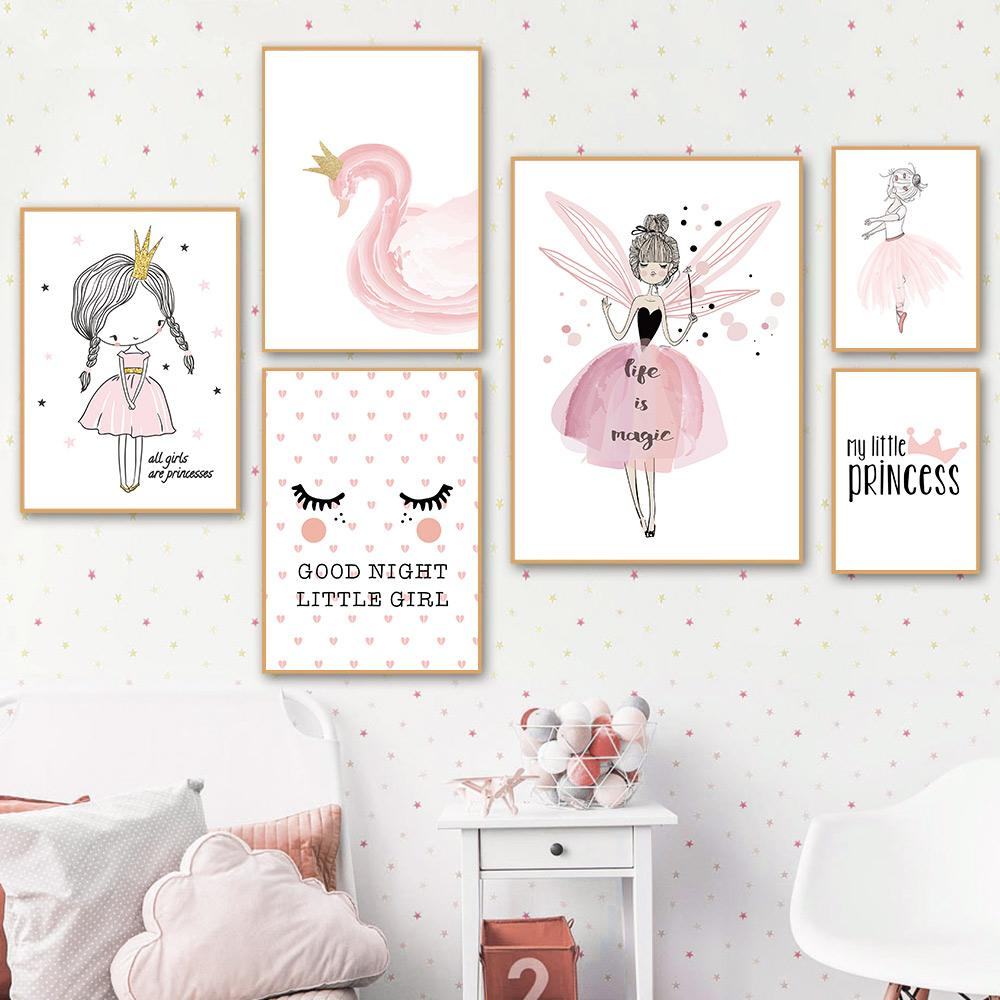 2021 Nordic Poster Pink Baby Girl Room Decor Nursery Canvas Poster Wall Pictures Canvas Painting Posters Baby Room Wall Decoration From Cccofficialstore 1 71 Dhgate Com