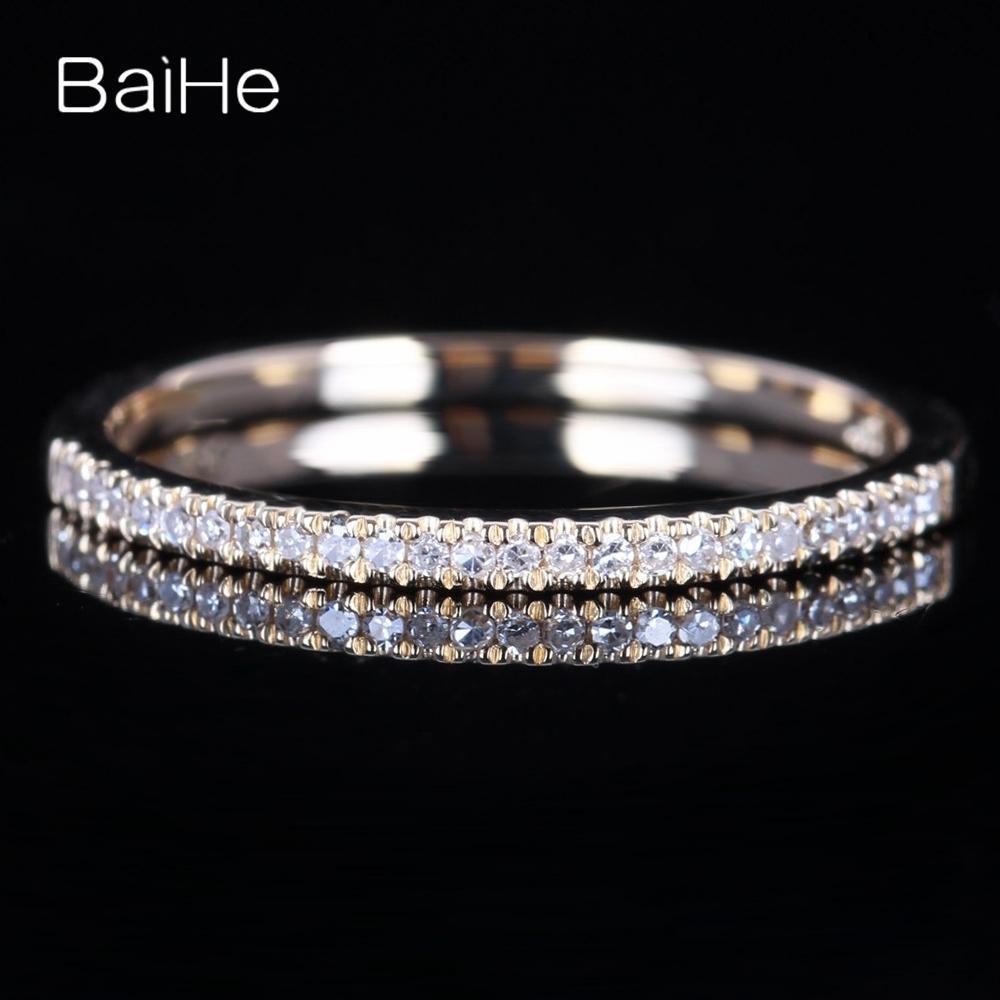 Baihe Sólido 14 K Ouro Amarelo Certificado 100% Diamantes Naturais, Noivado, Anel de Casamento Das Mulheres Jóias Resizable Y19070902