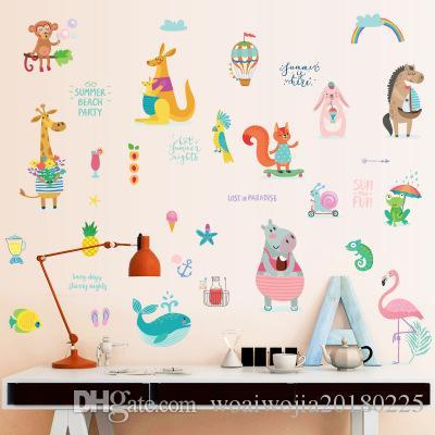 20190621 Os animais fofos aderem a guarda-roupas de dormitório infantil, banheiros, geladeiras, armários, paredes de desenhos animados decorativos e murais