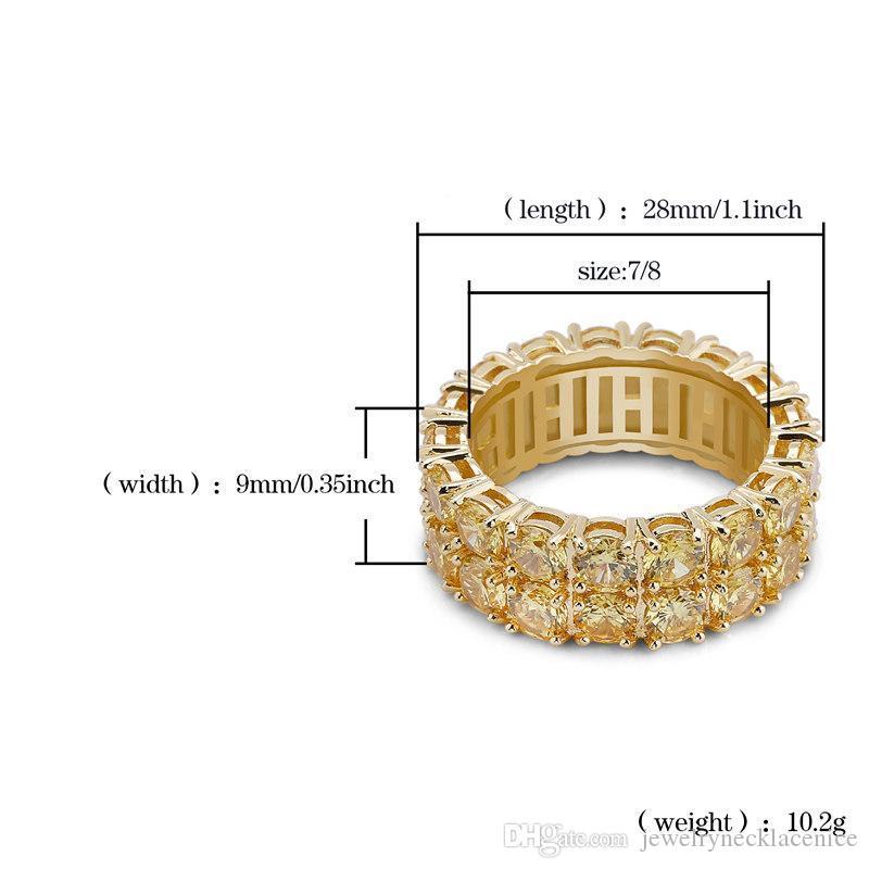 Hip Hop-Ringe für Männer Frauen Rappers Street Fashion Luxury 2 Reihen Gold-Zircon Gepflasterte 18K Gold überzogener Kupfer-Kreis Cluster Ring