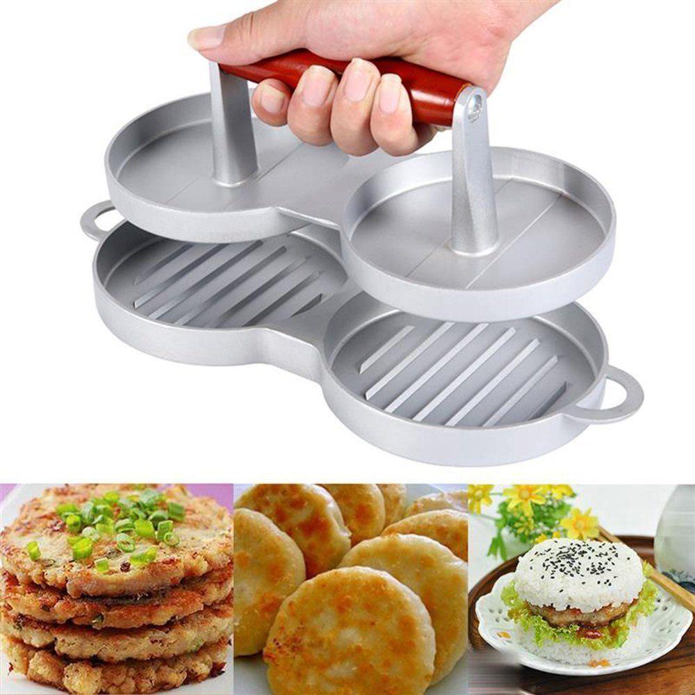 Barbekü Izgara Effient Mutfak Gadget Aracı için Realand Çift Alüminyum Burger Basın Non Stick Hamburger Maker Sığır eti Patty Kalıp