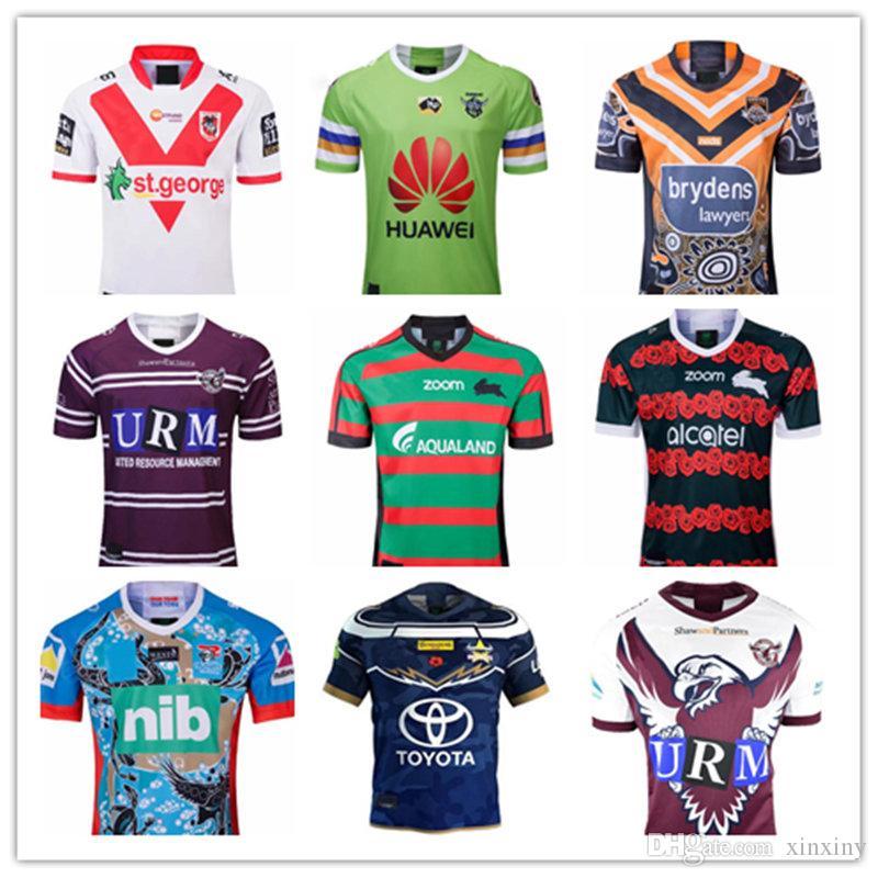 2019 Canberra St George Illawarra Rugby Jersey Kovboylar Manly Waringah Deniz Eagles Şövalyeleri Güney Sydney Rabbitohs Batı Tigers Rugby Jersey