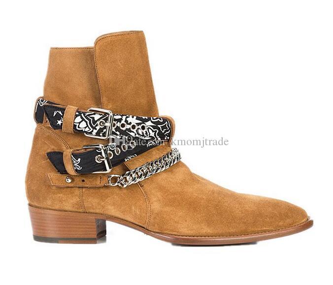 Man Modenschau Wyatt Harness Western-Cowboy-Stiefel Bandana Slp Suede Bandana Riemen und Schnallen Stiefeletten Kanye West Kette Schuhe
