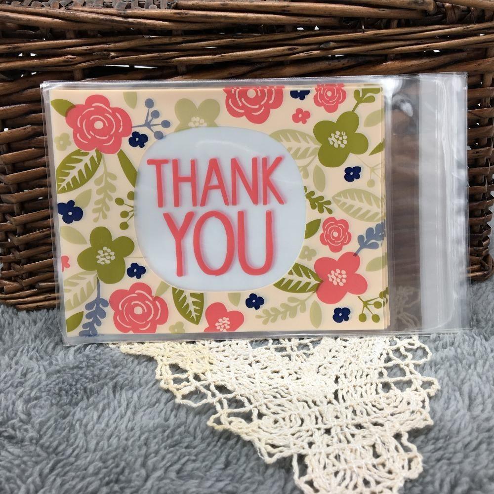 Fiore Grazie autoadesive sacchetti di plastica Confezione Regalo Candy Bag festa di compleanno 50 pezzi molto 10 * 13cm