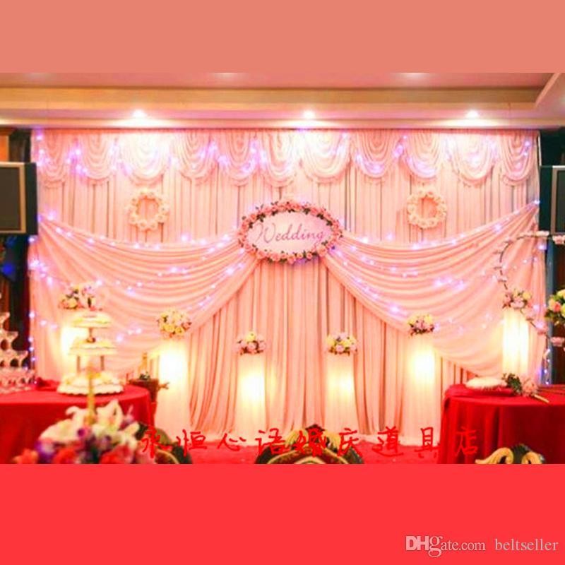 10FT 20FT * بيضاء الثلج الحرير خلفية زفاف مع خلفية سوجس الزفاف الستار الديكور للمرحلة الزفاف backcloth مع سوجس