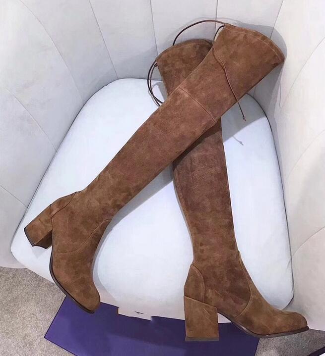 diseñador de alta calidad apliques de cuero auténtico sobre las botas de la rodilla de espesor de alta elasticidad inferior a los zapatos planos de ayuda SW negro marrón con cordones boots800c #