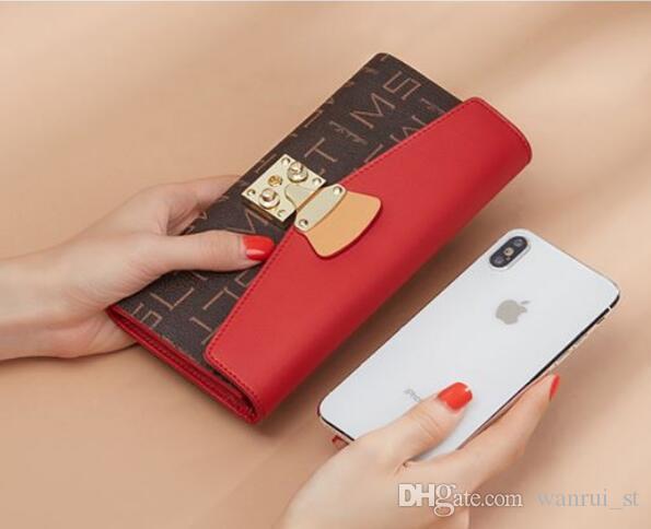Titular de la nueva llegada de nuevo de la manera Monederos cuero de la tarjeta de crédito para la caja del monedero de las mujeres monederos embrague fruncen bolsos del teléfono CON CAJA