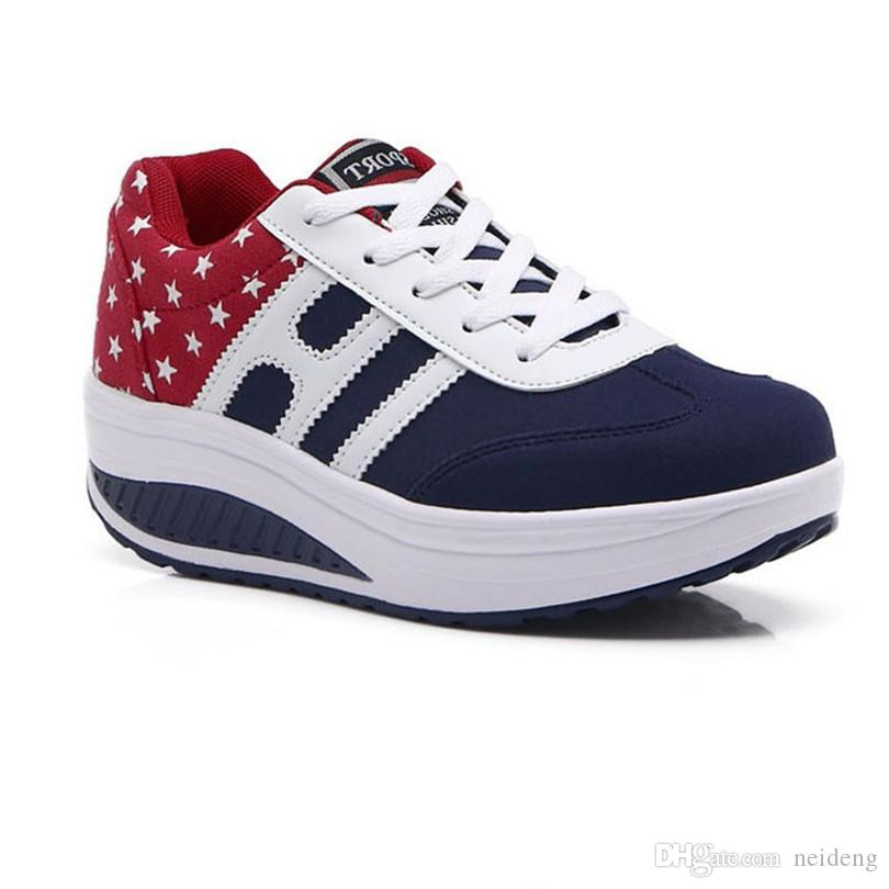 Hot Vente- Up Femmes swing Chaussures Femme Casual Low Top cheville plate Chaussures Chaussures Femme