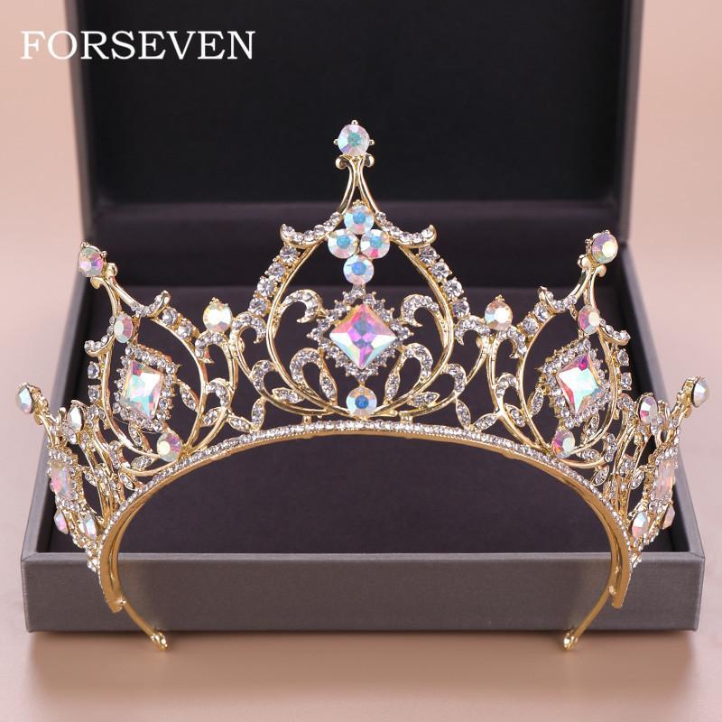 Barock Kristall-Tiara-Krone Braut Haarschmuck Bunte Kristallkrone Braut Tiaras Hochzeit Kopfschmuck Prinzessin Königin Diadem