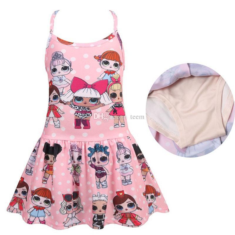 LOl maiô 2-8 anos meninas do bebê de uma peça swimwear Flamingo Cactus crianças crianças verão moda praia