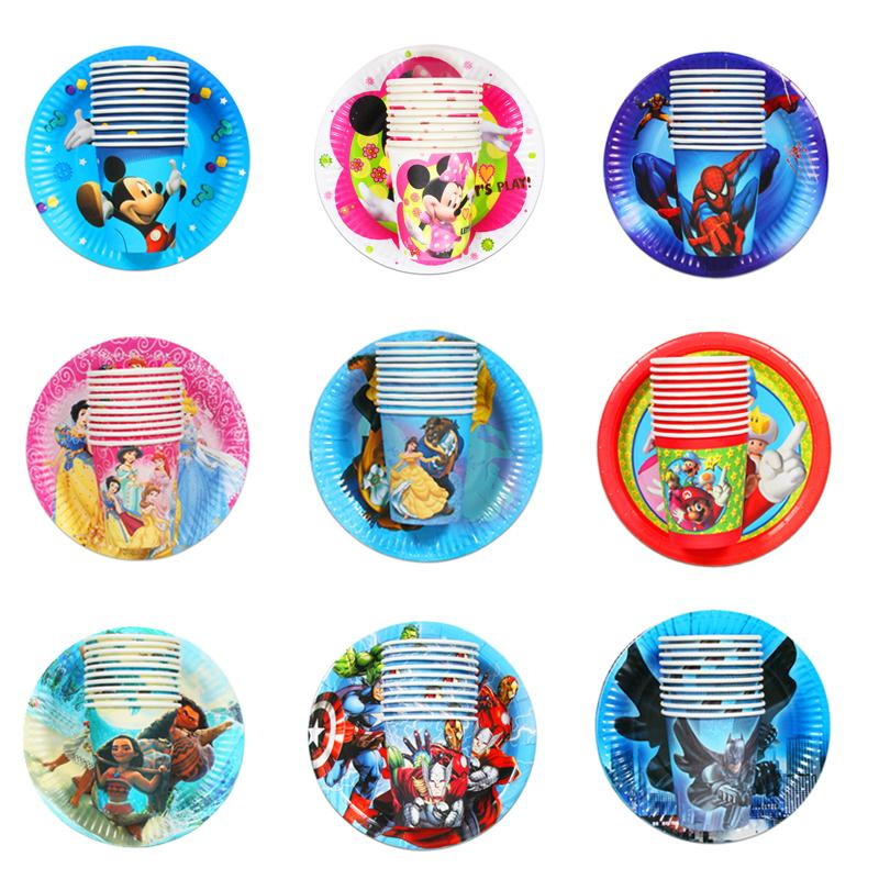 20pcs Cartoon Unicorn/Spiderman/Avenger/princess/Mario Disposable Tableware Sets Paper Plate Cup Wedding Birthday Party Supplie
