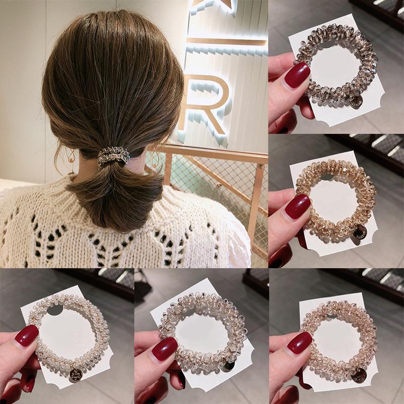 I titolari coreano perla di cristallo Scrunchies legami dei capelli con strass elastico Hairbands Ponytail dei capelli delle donne fasce corda Accessori per capelli