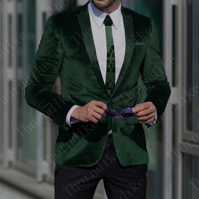 Thorndike 2019 New Design 2 PCS Mens Suits Dark Green Business Suits Velvet Thick Casual Wear Winter Spring Autumn Tuxedos