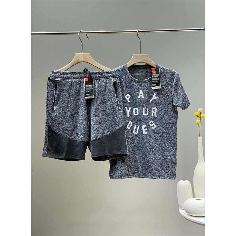 Designer Men Tracksuits Fashion Brand Mens Sports T Shirt + Shorts Suits Casual Active Tracksuit Mens Tees Sets 2 Colors YF203143