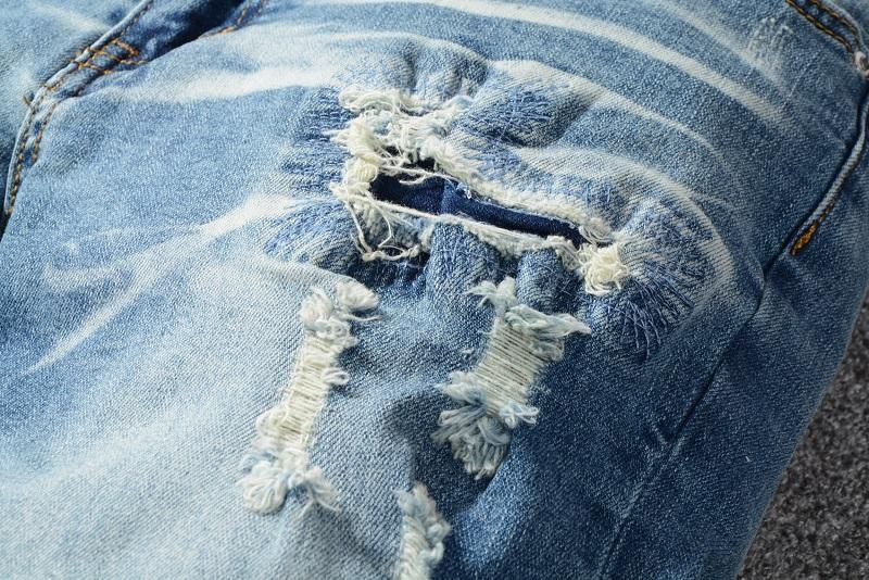 Großhandel Mens Fashion Designer Jeans Knöchel Längen Hosen Mit Langen Gürtel Distressed Washed Denim Blue Dünne Jeans Dünne Hose # 570 # Von