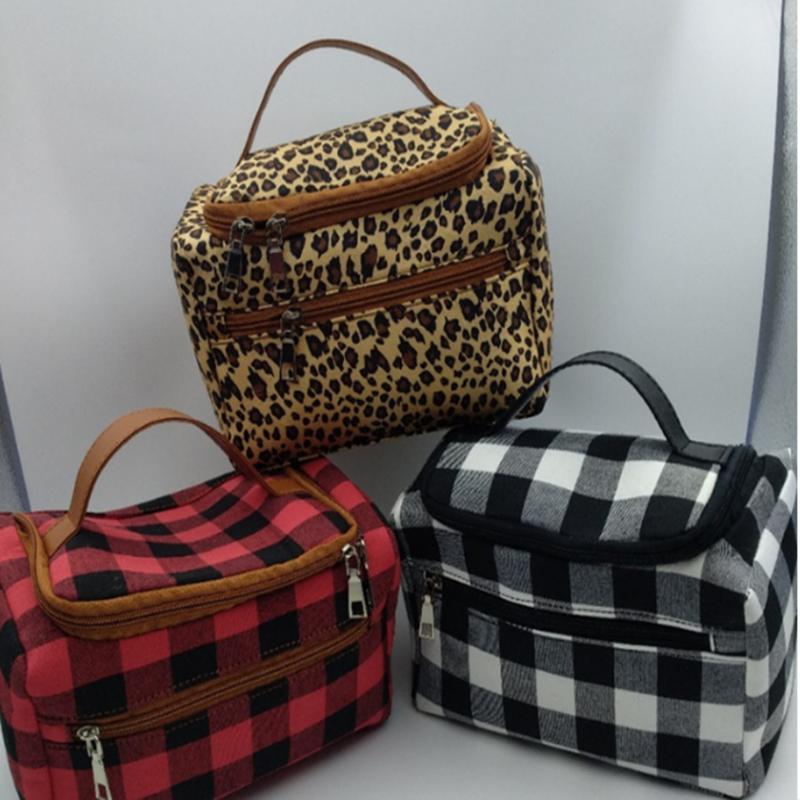 Plaid Storage Totes 3 Styles Buffalo Leopard Printed Women handbag Weekender bag travel Duffle Storage bag ZJJ67