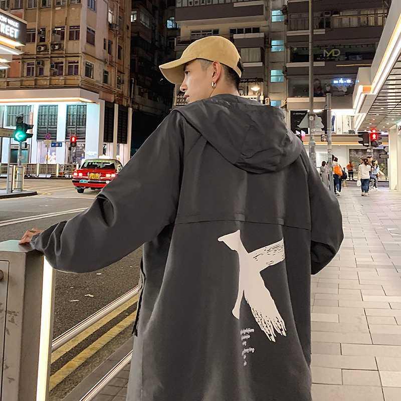 Giacca a vento creativo giapponese Giacche Lungo Inverno uomini incappucciati Slim cappotti Hood Shiny Masculino maschile cappotto KK60FY