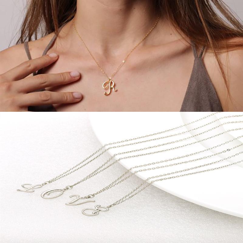 Jóia Colar Mulheres Simples Choker colar europeus e americanos Inglês Alfabeto Pingentes Elegante Enfeites