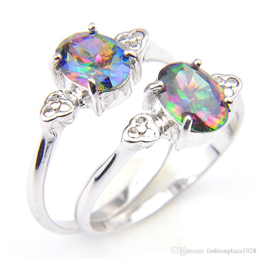 Gioielli Fuoco colore dell'arcobaleno Mystic Topaz Gems 925 Sterling Silver Ring Russia americano in Australia Matrimoni anello di Souvenir Donne