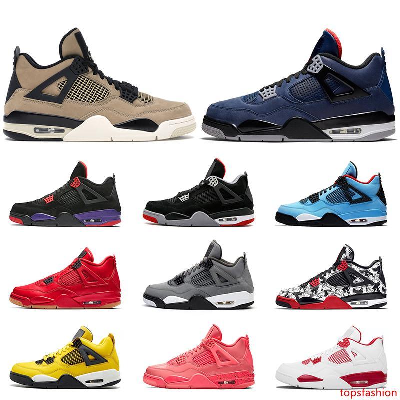 2020 Hombres Mujeres 4 4s Nueva zapatos de baloncesto de Jumpman Travis Scott WNTR leales Azul Gris frío Raptors Bred Singles tatuaje Día Entrenadores zapatillas de deporte