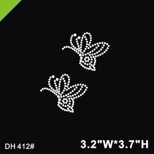 Free shipping crystal Hot fix heat transfer rhinestone motif butterfly Rhinestone Transfers DIY DH412#