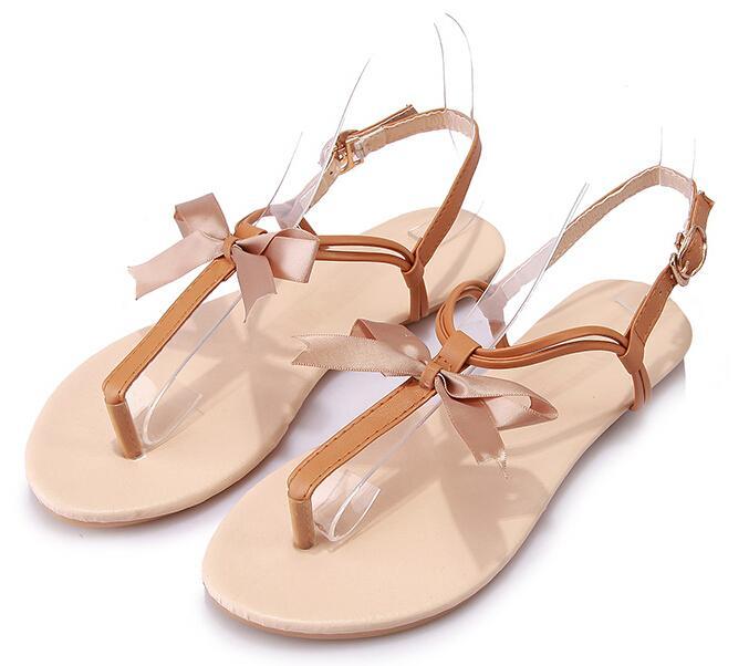 Moda nuevo estilo de verano sandalias de las mujeres planas de la hebilla del tobillo zapatos sandalias de tacón plano Lambdoid T-correa Flip Flop sandalias mujer