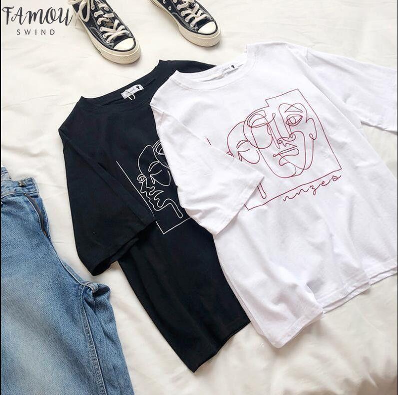 Mizaç Özet Baskı Yaz Gevşek Rahat Yuvarlak Yaka Kısa Kollu T Shirt Drop Shipping İyi Kalite