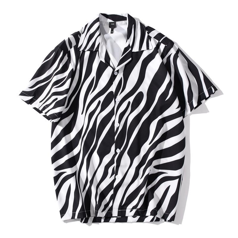 Streetwear Hommes Hip Hop court Zèbre Noir Blanc T-shirts manches d'été Plage Complet Imprimer Shirts Femmes Harajuku Mode Top Vêtements