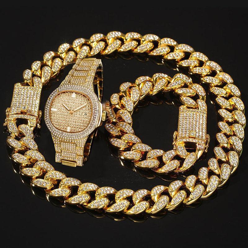 Erkekler Paslanmaz Çelik İş Kol Man Hip Hop LY191226 için dropshipping Erkek Saatler Top Marka Lüks buzlu Out İzle Elmas İzle