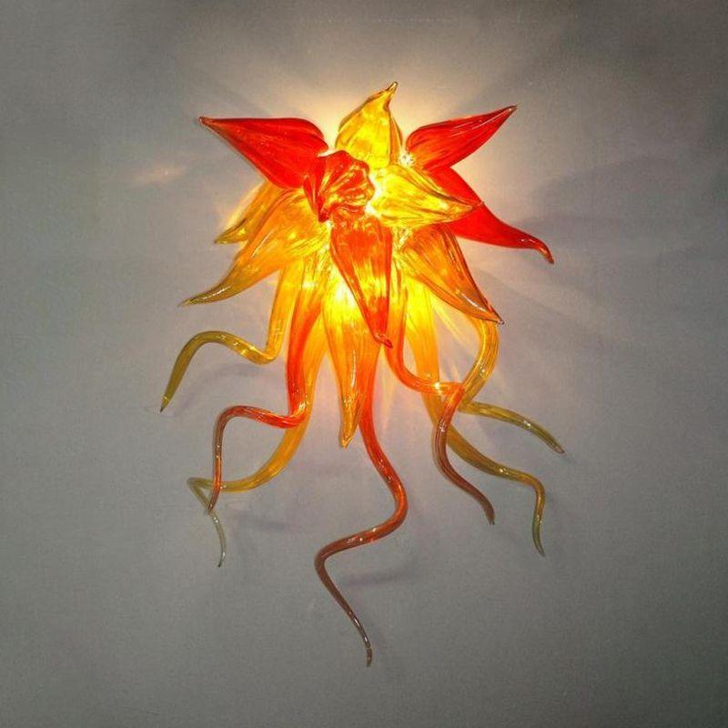 100% vidro soprado Wall Lights Lâmpadas LED Lâmpadas de parede Atacado Designer Art Flor arandela frete grátis