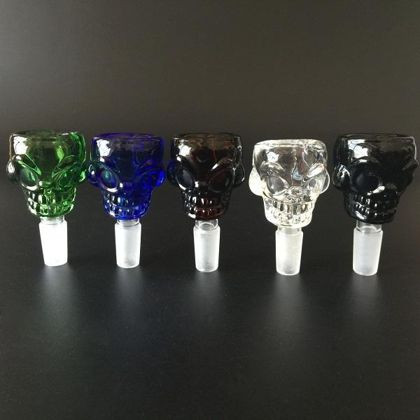 Wholesale Skull Design Glass Bowl 14.5mm&18.8mm male 4 colors 7mm thickness for smoking pipe bong mini oil rig percolators bubbler