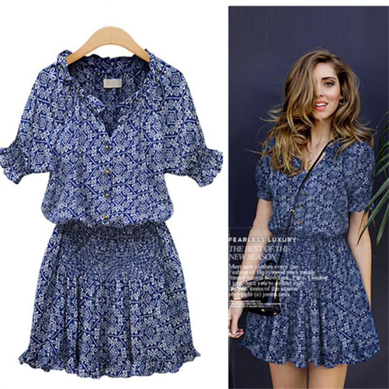 Floral Printed Dress Ruffle Women 2020 Summer Sexy Casual Slim Thin Beach Dresses O Neck Mini Dress Vestidos