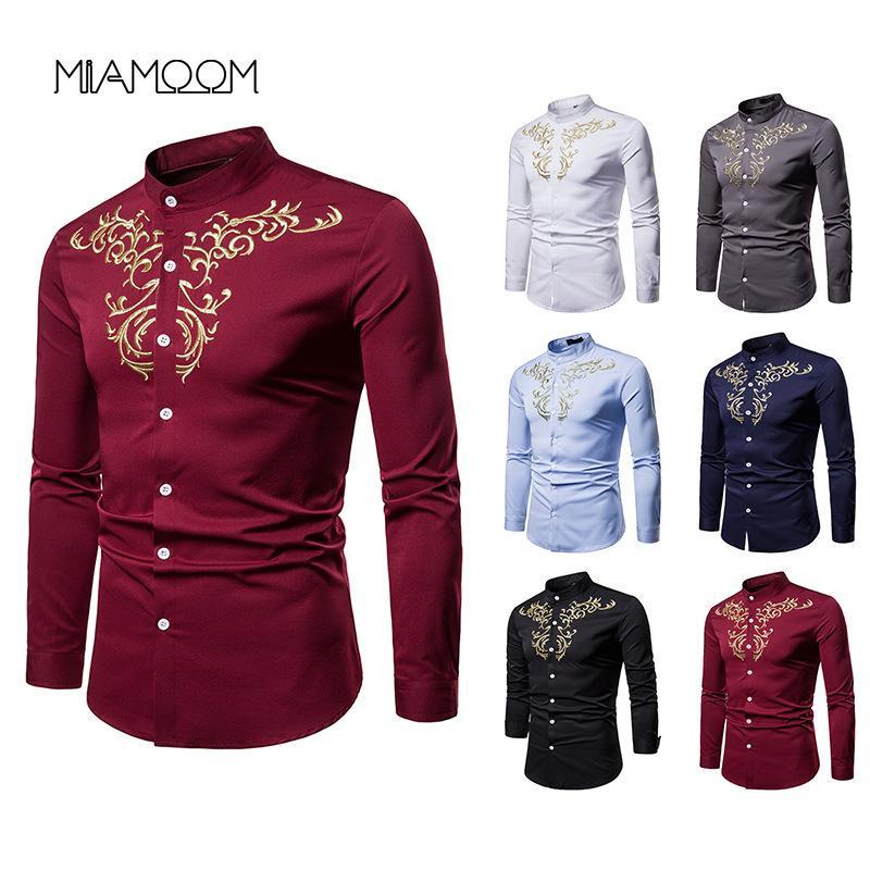 MIAMOOM Shirts Männer Kleid Bestickt Henry Kragen Large - Größe Lang - Sleeved Hemd