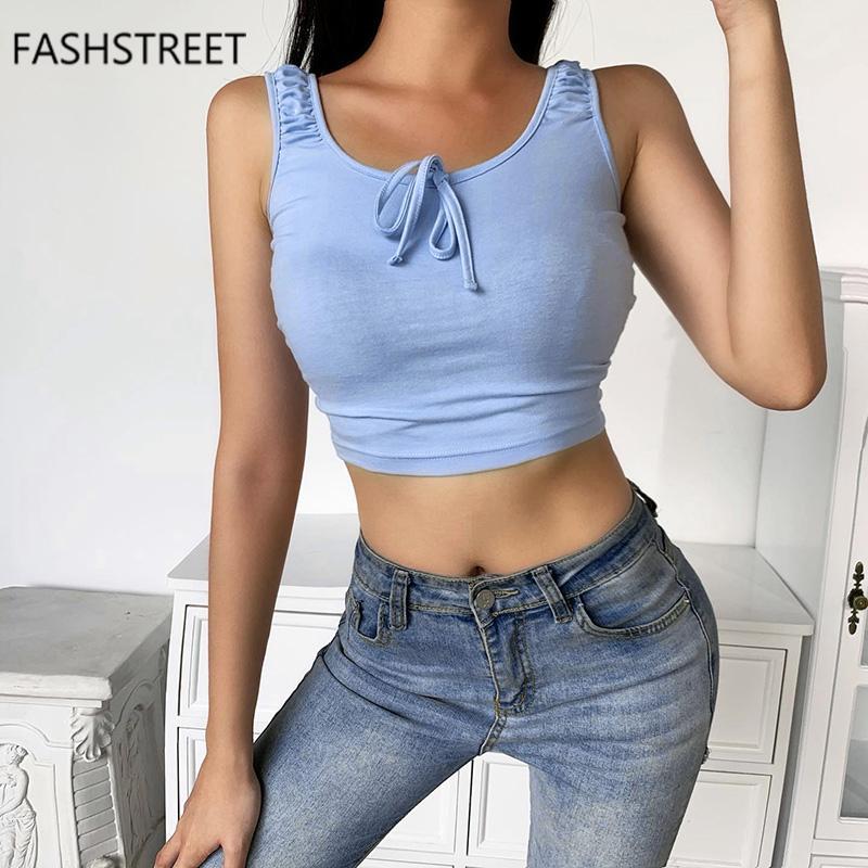 FASHSTREET 2020 Blau O Ansatz schnüren sich oben Bogen dünne Crop Tops Sommer-Frauen Sexy ärmel Chic Tank Top Frauen Streetwear Tops