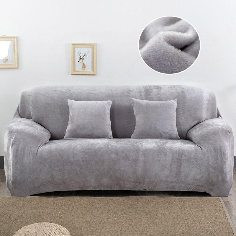 4 Seater Plush Sofa Cover Stretch Solid Color Thick Slipcover Sofa