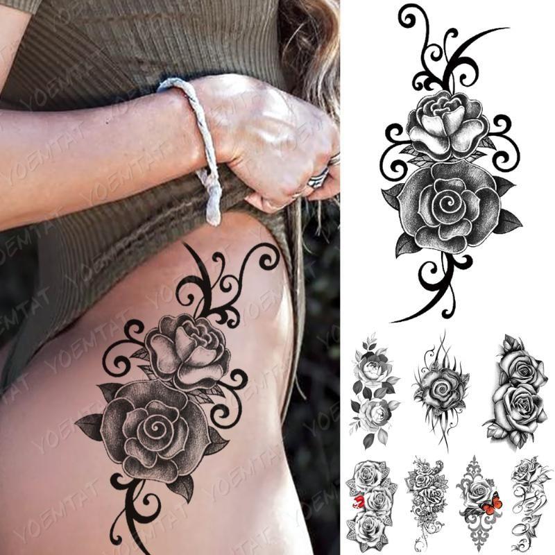 Водонепроницаемая временная татуировка наклейка для татуировки губная бабочка роза лотос татуировки цветы тела искусства рука поддельных рукава тату