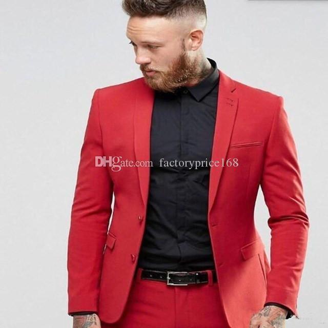 Dos botones populares padrinos de boda muesca solapa (Jacket + Pants + tie) Trajes de boda del novio de los smokinges de los padrinos de mejor juego del hombre para hombre del novio A254