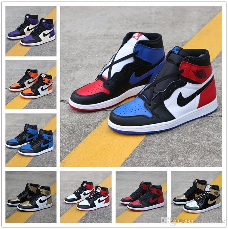 Zapatos Entrenadores de baloncesto del Mens Zapatos Hombres 1 baloncesto Prohibido Bred Negro Toe Top 3 Chicago Negro dedo del pie de la zapatilla de atletismo 1s
