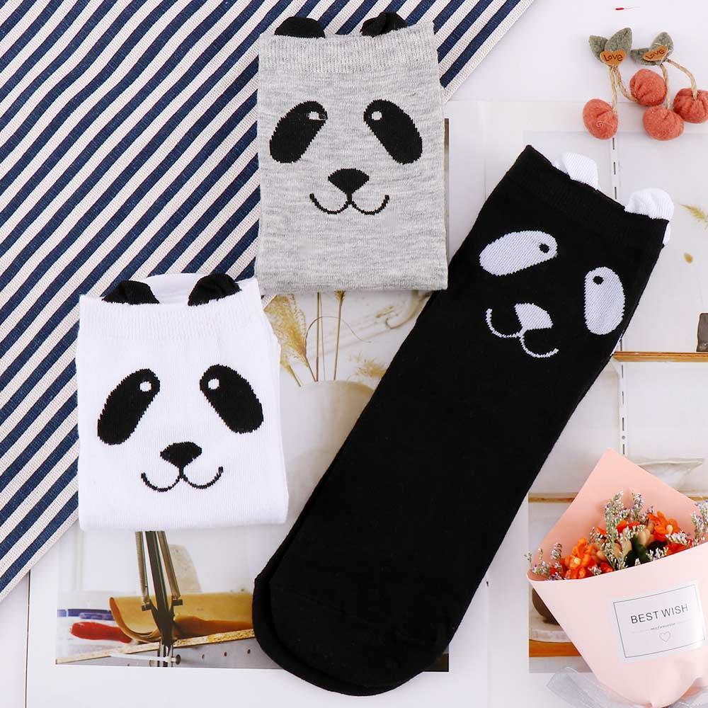 1 paire Taille adulte Équipage animal court cheville belle Chaussettes Panda Cartoon Automne Printemps 3D Imprimé cheville Chaussettes Mignon